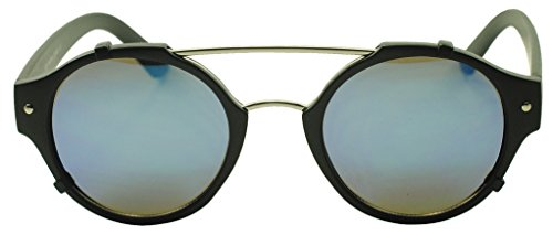 Sunglass Stop - Unique Round P3 Double Brow Bar Flash Mirrored Inspired Sunglasses (Matte Black | Blue Lens, - Shades Ozzy