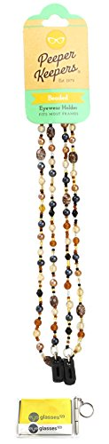 Eyeglass Retainer & Sunglass Holder By Peeper Keepers Glass Beads, Brown Marble, 1pk | w/Microfiber Cloth & Screwdriver by Peeper Keepers
