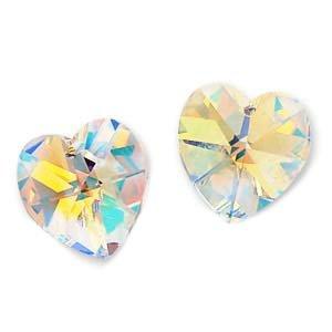 Pendant 14mm Swarovski 6202 Heart (Swarovski Crystal Heart Pendant 6202 14mm Crystal AB (2))