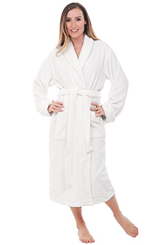 Del Rossa Women's Turkish Terry Cloth Robe, Thick Bathrobe, 1XL 2XL White (A0106WWH2X)