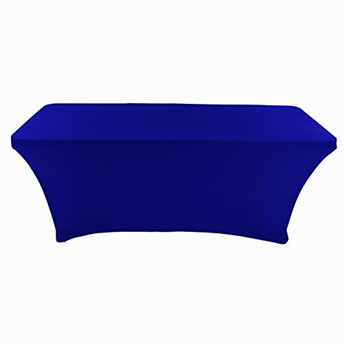 CB Accessories Stretch Table Cover 6ft Rectangular Fitted Spandex Full Length Tablecloth for Standard Folding Tables, Wedding Decorations, Catering Supplies and Holiday Party (6 ft, Royal ()