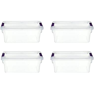 STERILITE 17511712 6-Quart ClearView Latch Box, with Plum Handles, 4-Pack