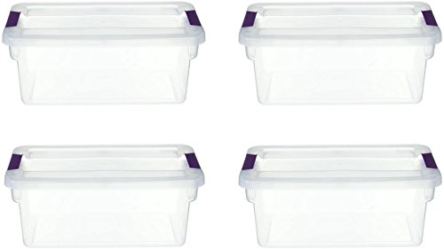 STERILITE 17511712 6 Quart Clearview Latch Storage Container with Plum Handles ()