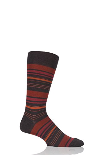 Mens 1 Pair Richard James Strathnaver Varied Stripe Merino Wool Socks Chocolate 10-12 Mens