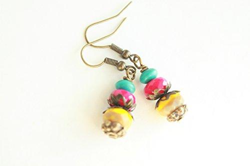 Antique multi-color Czech glass statement dangle earrings - Fuchsia Earrings - Pink Earrings - Yellow Earrings - Turquoise Earrings - Gypsy beaded earrings