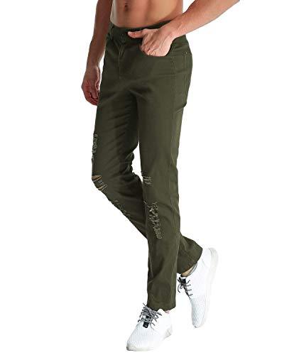 Fori Buco Strappato Fit Ginocchio Jeans Uomo Stile Chino Da Armeegrün Bassa Pantaloni Casual Distrutti Semplice A Slim Vita Moda Con zvZywq