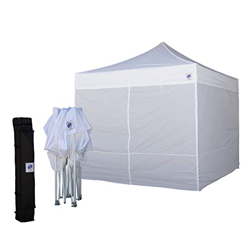 E-Z UP Event Shelter 10' x 10' (3m) EVWH10WHVP Vendor Friendly All White Pop-up Straight Leg Commercial Tent with 4 Walls Full Enclosure, Roller Bag, and 4-Piece Spike Set (Value Pack) ()