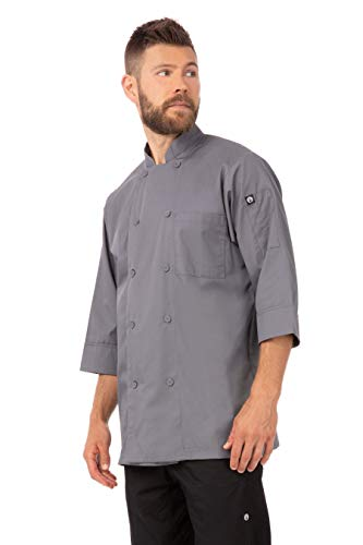 Chef Works Men's Morocco Chef Coat, Gray, X-Large (Gray Kitchen Red And)