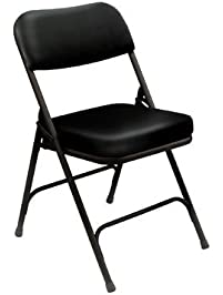 vinyl upholstered folding chairs in black