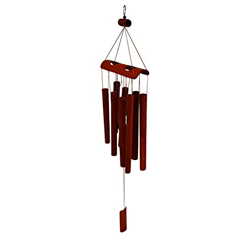 """Bamboo Wind Chimes - Wood Wind Chime - Large Brown Indoor Outdoor Wooden Melody - 25"""""""