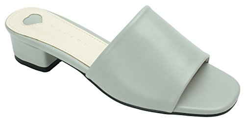 Leather Light Mule Gray Sandal AnnaKastle Faux Womens Heel Colored Slipper q8Sx0FwP
