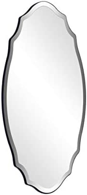 CHIC MODE 36″x24″ Silver Decor Ornate Accent Wall Vanity Mirror