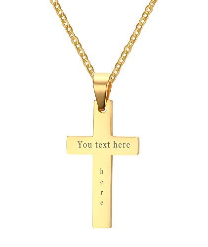 XUANPAI Gold Plated Custom Engraving Stainless Steel Plain Cross Pendant Necklaces,Religions Personalized Gift for Men Women
