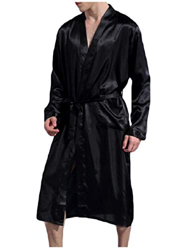 Winwinus Men with Belt Relaxed-Fit Solid Pocket Comfortable Smoking Jacket Black XL