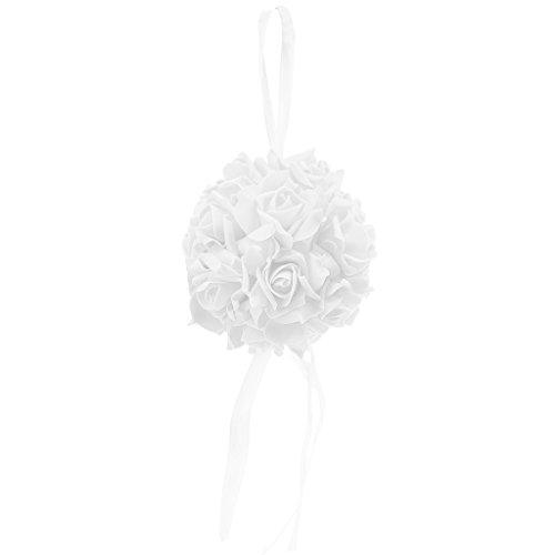 LANDUM Kissing Pomander Ball Rose Flowers Form Ball Pew Bows Wedding Party Supplies New - White -