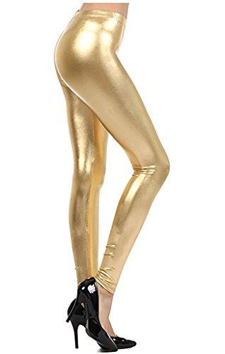 Slauson Supermall Women Metallic Footless Leggings Tights Liquid Shiny Costume - The Supermall
