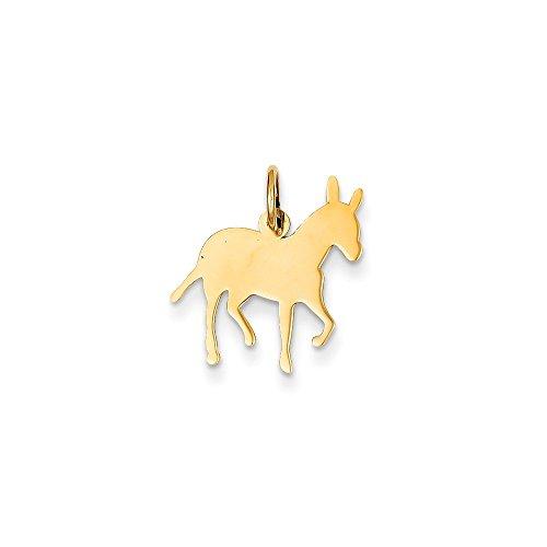 Donkey Pendant Animal Charm Fashion 14K Yellow Gold (14k Gold Donkey Charm)