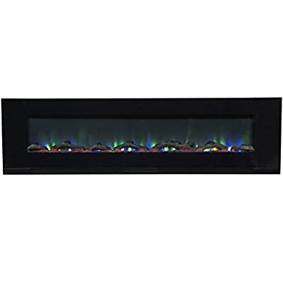 "Touchstone ValueLine 72"" 10-Color, Recessed Wall Electric Fireplace, 72 Inch Wide, Logset & Crystal, 1200W Heat (Black) by Touchstone Home Products"