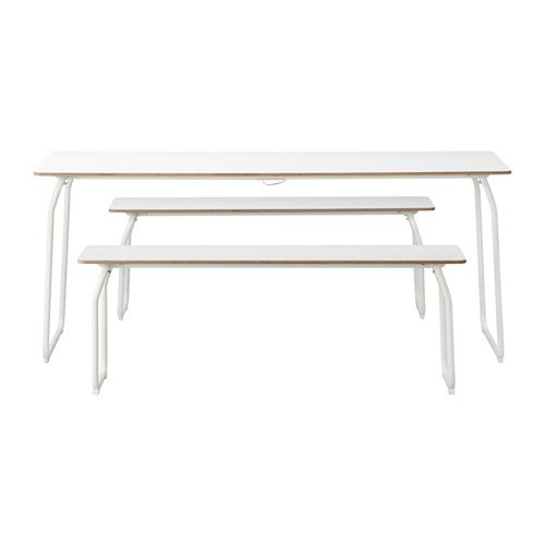 Ikea Table and 2 benches, in/outdoor, white, foldable 20202.171420.2238
