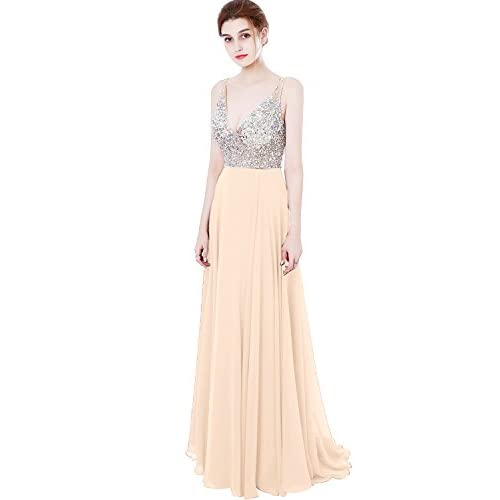 d7ae49fca27 Meilishuo Women s Jewelry Deep V-neck Beaded Chiffon Prom Dress Long  Evening Gown for Party