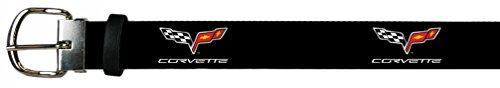 Chevrolet Automobile Company Corvette Flags Leather Belt (Leather Clip Corvette Money)