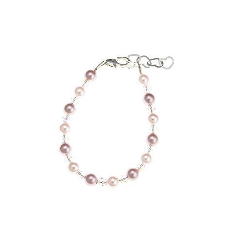 22592af59 Crystal Dream Elegant Swarovski Pink and Rose Simulated Pearls White  Crystals Baby Girl Gift Bracelet (