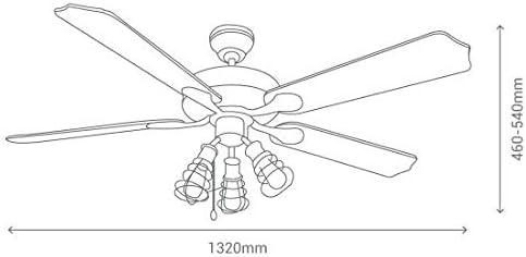 Ventilador rustico OLYMPIA con luz 132 cm.