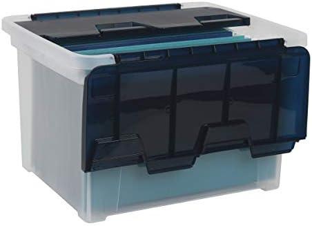 Office Depot Wing-Lid Letter/Legal Plastic Storage Box, 8.75 Quart, Clear/Navy Blue, 139557