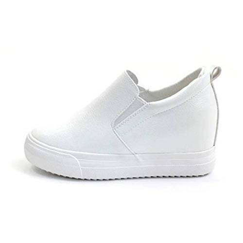 EpicStep Women's White Casual Leather High Mid Heels Hidden Wedges Slip On Platform Sneakers Loafers 6 M US