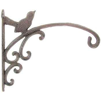 Dist by Classyjacs - Heavy Cast Iron - 12 Inch - All-Purpose Hanger - With a Sparrow Bird Sitting On The Arm - (Vintage Rustic Finish - Primitive Swirls and Curls Design - Use Indoor or Outdoor)