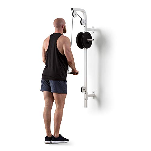 Klarfit Stronghold - Pull-up bar, Wall installation, Max. Load 100 kg, 2.5 m cable, Triceps rod included, White