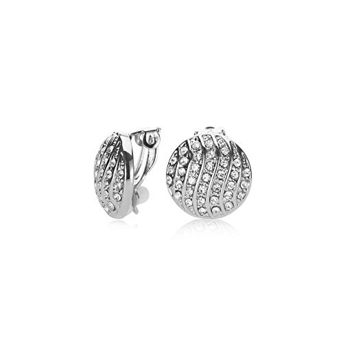 UPSERA Silver Tone Rhodium Plated Clip on Earrings for women Round Ear Stud Pave Crystal Fashion Non Pierced Earrings