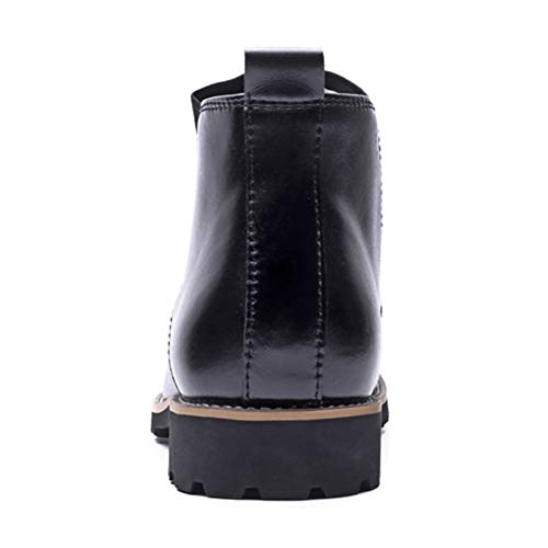 Slip Pelle Punta da Uomo EASYANT on Boots Tonda Invernali Black Maschile Stivaletti in Vera Stivali vnqwSABtS