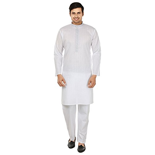 Cotton Embroidered Mens Kurta Pajama India Clothing (White, XL) ()
