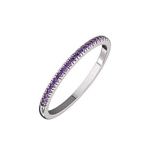 - Solid Sterling Silver Delicate & Dainty Band Ring with 21 Natural Amethyst Gemstones for Women