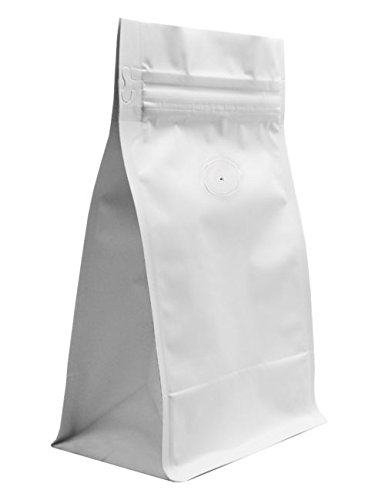 BAP 12 oz Matte White Block or Flat Bottom Gusseted Bag, Valve, Pull Zip (100 pcs) Bottom Blocks