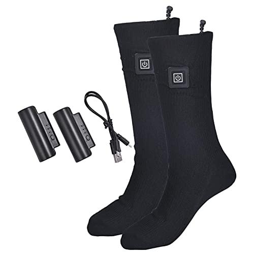 ZYZY Elektrische verwarmde sokken,Oplaadbare thermische sokken op batterij,Warme katoenen sokken voor mannen vrouwen