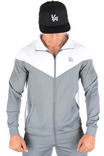 YoungLA Track Jackets for Men Athletic Running Jogging Gym 515 Gray Medium (Gray Mens Track Jacket)