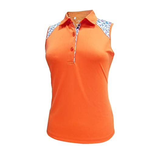 Monterey Club Ladies Dry Swing Leopard Colorblock Sleeveless Shirt #2425 (Autumn Glory, 2X-Large)