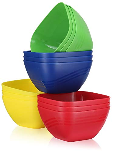 12 Pack - Reusable Hard Plastic Cereal | Soup Bowls 20 oz. Unbreakable Microwave | Dishwasher Safe, BPA Free, Small Kids Fun Assorted Colors Set