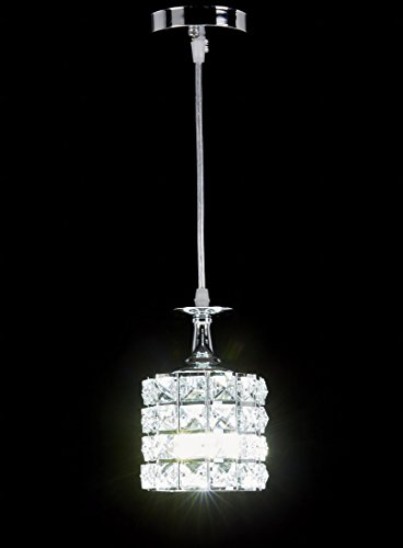 New Galaxy 1 Light Chrome Finish Metal Shade Crystal Chandelier Hanging Pendant Ceiling Lamp Fixture 8310