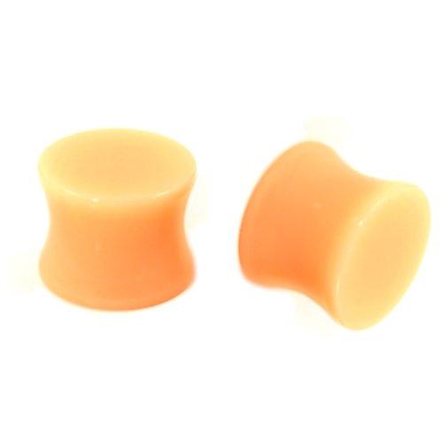 Pair (2) Flesh Tone Saddle Ear Plugs Solid Acrylic Gauges - 3/4 Inch (19mm) (Plugs Gauged)