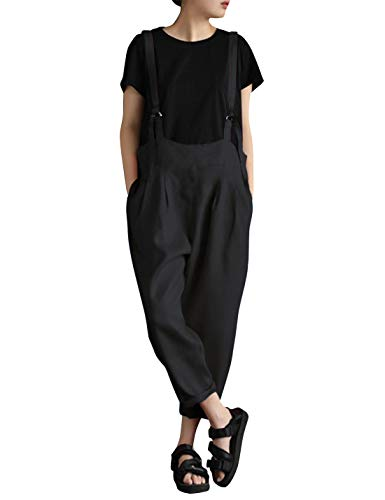 (Yeokou Women's Linen Wide Leg Jumpsuit Rompers Overalls Harem Pants Plus Size (X-Large, Style15Black))