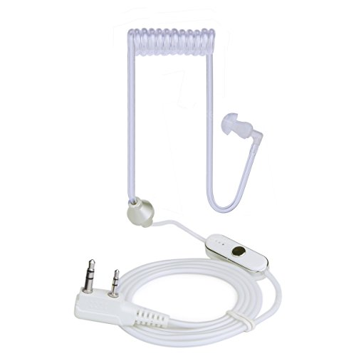 NKTECH 2-Pin K-Type Air Tube Earpiece Headset PTT MIC for BaoFeng UV-5R V2+ PRO DM-5R UV-5RE Plus UV-5RA UV-82 GT-5 GT-3 Wouxun TYT HYT Kenwood Two Way Radio (NK-H1-White)