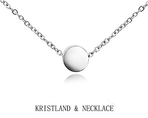 (KristLand - 18k Gold Plated Stainless Steel Tiny Round Necklace Open Circle Pendant Adjustable Choker Simple Style Bean Silver Color)