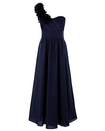iEFiEL Big Girls Rosette One Shoulder Chiffon Flower Dress Junior Bridesmaid Gown Dark Navy 10