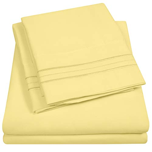 1500 Supreme Collection Extra Soft Twin Sheet Set, Pale Yellow- Luxury Bed Sheet Set with Deep Pocket Wrinkle Free Hypoallergenic Bed Sheets, Twin Size, Pale Yellow