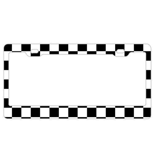 (Christopher Macadam License Plate Frame, Car Tag Frame, Black White Checkerboard License Plate Holder, Fashion License Plate Frame)