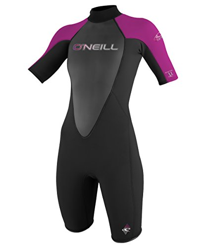 O'Neill Wetsuits Women's Reactor 2 mm Short Sleeve Spring Suit, Black/Festival, - Wet Women Suit