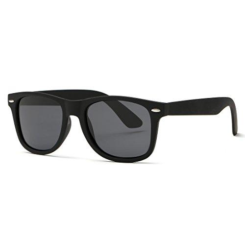 5e27475d0f Kimorn Polarized Sunglasses Square Frame Horn Rimmed 80 s Retor Glasses  K0300 (Black)